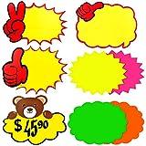 JJQHYC 80 hojas de etiquetas de precio, caracteres de Starburst fluorescentes etiquetas de precio precio de venta, tarjetas para negocios y supermercados