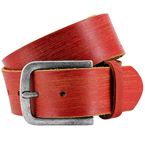 Pierre Cardin leather belt for Men/Mens full grain leather belt, red, Farbe/Color:rouge, Size:115