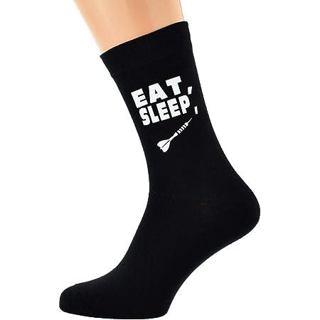 Eat Sleep Playing Darts with Dart Image Design Mens Black Cotton Rich Socks