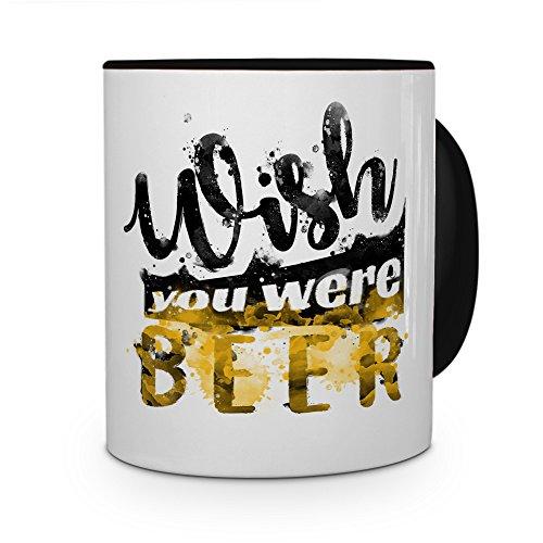 printplanet Tasse mit Spruch: Wish You were Beer - Kaffeebecher, Mug, Becher, Kaffeetasse - Farbe Schwarz
