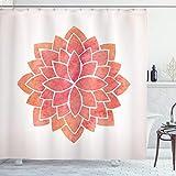 ABAKUHAUS Blumen Duschvorhang, Layered Lotus Illustration, mit 12 Ringe Set Wasserdicht Stielvoll Modern Farbfest & Schimmel Resistent, 175x180 cm, Coral Weiß & Lachs