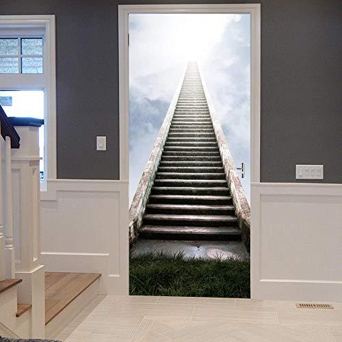 Deurstickers Creatieve Muurstickers 3D Stereo Ladder Persoonlijkheid Familie Decoratie Muurschildering-90X200Cm