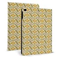 黄色のレトロな葉を繰り返します iPad 2018 ケース アイパッド 2017 9.7 ipad air2 手帳型保護カバー 耐衝撃 傷つけ防止 全面保護 二つ折 オートスリープ 高級PU レザーケース