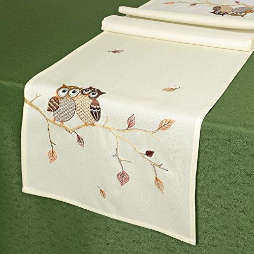 Kamaca Tischläufer EULENPÄRCHEN mit süßen Eulen, sitzend auf einem AST - Filigrane Stickerei - EIN Schmuckstück in Herbst Winter (Tischläufer 40x140 cm)