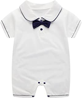 الوليد الطفل بنين بنات الرسمي ربطة طوق القصير قصيرة الأكمام البدلة ارتداءها بذلة 0-12 أشهر (Color : White, Size : 59CM)