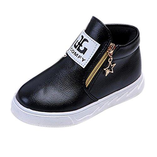 Igemy 1 Paar Kinder Beiläufig Sport Jungen Mädchen Mode Martin Stiefel Sneakers Schuhe (24, Schwarz)