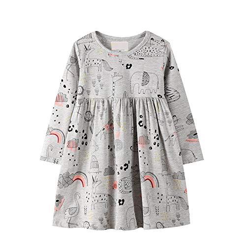BeedooDoobee Vestidos de niña de manga larga de algodón vestidos de bordado para niñas de 2 a 7 años - gris - 3 años