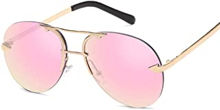 Color Film Metal Glasses Men Women Personality Casual Sunglasses (Color : 02Pink, Size : Free)