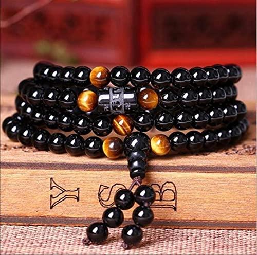 TranTran NTP Black 108 Prayer Beads Tiger Eye Stone Bracelet Necklace Crystal Strand Mala Rosary Buddhist Buddha Lover Lucky Amulet Jewelry