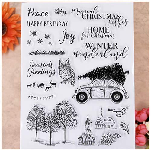 KWELLAM Merry Christmas Joy Winter Wonderland Owl Deer Tree Clear Stamps for Card Making Decoration and DIY Scrapbooking