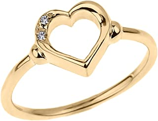 Fine 10k Yellow Gold Dainty Band 2-Stone Diamond Open Heart Ring