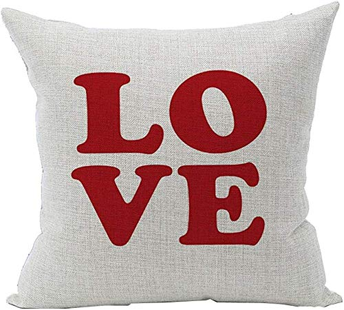 Houlipeng Pillowcase Lover Heart Pattern Cotton Square Throw Pillow Case Decorative Cushion Cover Pillowcase Cushion Case for Sofa,Bed,Chair,Bedding 45X45CM (Red Love on White)