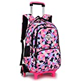 6. QIXINGHU Girl Rolling Backpack Kids Backpack with wheels for Middle school Trolley Luggage, Black Six Rounds, Large