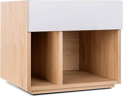 Mc Haus Table de Chevet Nanna, Gris Blanc, 44,8x41,2x39,7cm