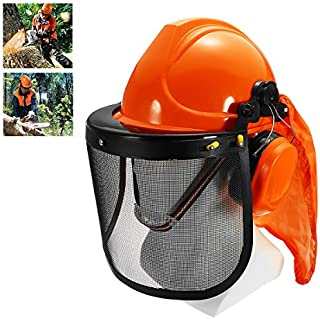 Yingte Chain Saw Forestry Safety Helmet with Ear Defenders,Mesh Visor Earmuffs Face Shield Protection