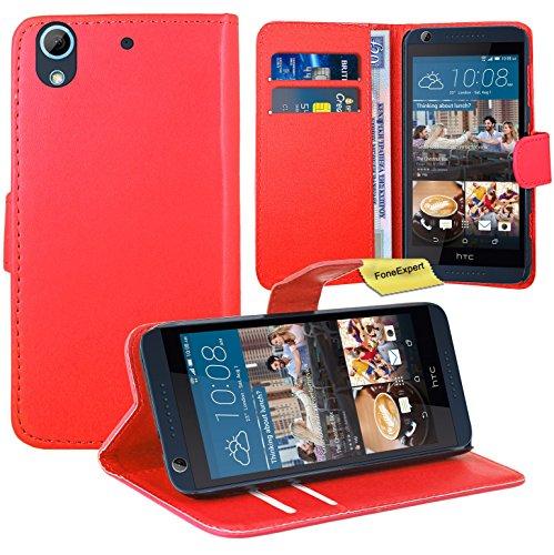 HTC Desire 626 626G Handy Tasche, FoneExpert® Wallet Case Flip Cover Hüllen Etui Ledertasche Lederhülle Premium Schutzhülle für HTC Desire 626 626G (Rot)