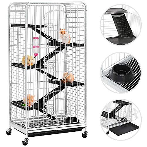 Yaheetech Cage Tower Equipée pour Rongeurs/Cochon d'Inde/Furets/écureuils/Chinchillas sur roulettes 6 Niveaux 64 x 44 x 131 cm Blanc