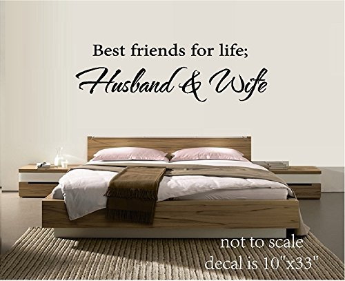BEST FRIENDS FOR LIFE HUSBAND & WIFE VINYL WALL DECAL LETTERS HOME DECOR BED ROOM