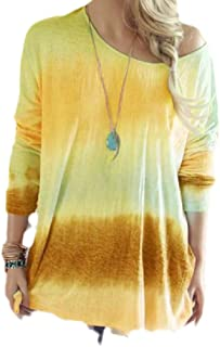 Macondoo Womens Crew-Neck Loose Top Tees Long Sleeve Ombre Casual T-Shirts
