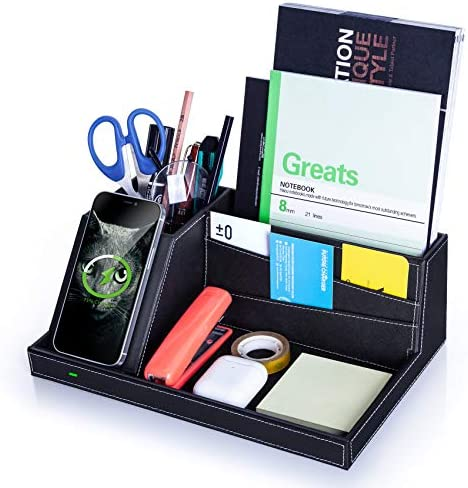 Desk Organizer with Charging Station Multifunctional Desktop Organizer All in One Office Supplies product image