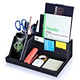 Desk Organizer with Charging Station, Multifunctional Desktop Organizer All in One Office Supplies and Desk Accessories Organizer with 4 Compartments and 1 Phone Stand for Home & Office -Black