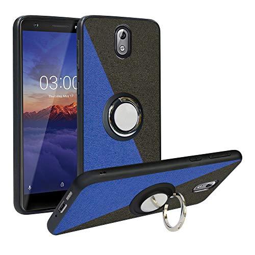 Funda para Nokia 3.1 2018,Fashion Design [Antigolpes] con 360 Anillo iman Soporte, Resistente a los arañazos TPU Funda Protectora Case Cover para Nokia 3.1 2018,Blue/Black