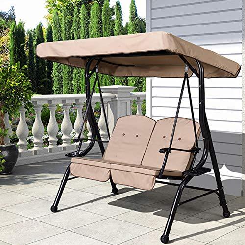 Select Zone - Copertura impermeabile per sedia a dondolo da giardino a 3 posti, in tessuto di ricambio, impermeabile, colore: cachi