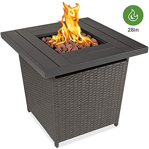 Best Choice Products 28in Fire Pit Table 50,000 BTU Outdoor Wicker Patio Propane Gas w/Faux Wood Tabletop, Lava Rocks, Cover, Hideaway Tank Holder, Lid – Gray