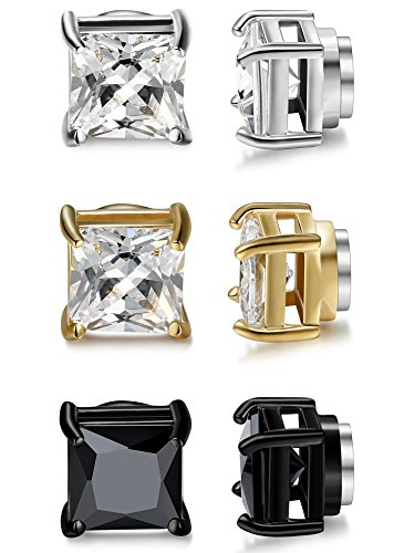 Jstyle 3 Pairs Stainless Steel Mens Womens Magnetic Stud Earrings Non-piercing CZ 5mm