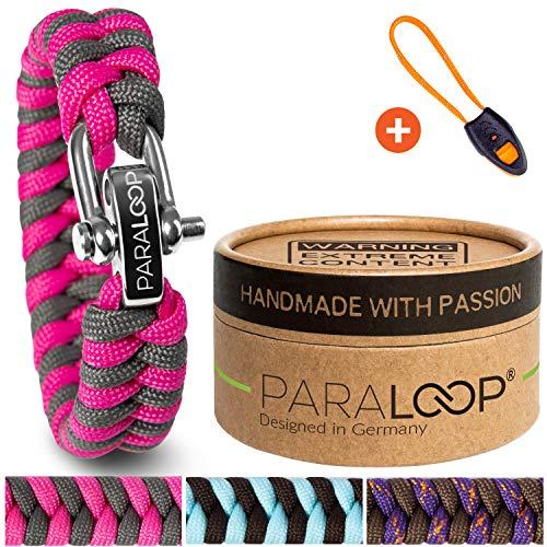 PARALOOP® ORIGINAL Paracord Armband für Frauen + Anhänger mit Signalpfeife in Handarbeit geflochten mit Geschenkbox Verschluss aus Edelstahl Armbänder Damen Pink Grau