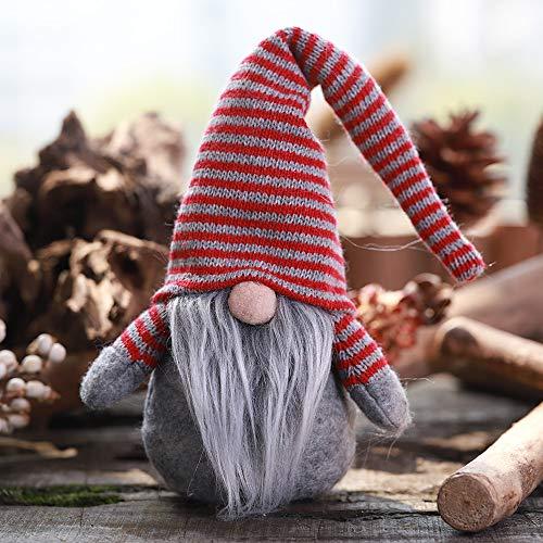 Ansenesna Weihnachten Wichtel Figuren Groß Stoff Zwerge Christmas Schaufenster Schmuck Deko (Grau 5)
