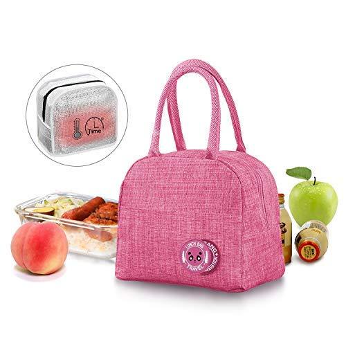 JEEZAO Klein Leicht Lunch Tasche,Kühltasche Isoliertasche zur Arbeit Schule,Picknick,Faltbar Wasserdicht Reißverschluss 6L (Pink)
