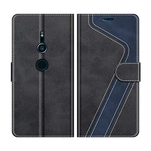 MOBESV Handyhülle für Sony Xperia XZ2 Hülle Leder, Sony Xperia XZ2 Klapphülle Handytasche Hülle für Sony Xperia XZ2 Handy Hüllen, Modisch Schwarz