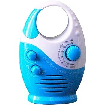 Lumpna Shower Radio, Bathroom Waterproof Speaker Button Adjustable Volume Top Handle Mini Music AM FM Battery Powered Insert Card Hanging Portable