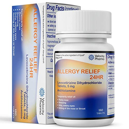 Levocetirizine Dihydrochloride Tablets, USP 5mg | 24 Hour Allergy Relief | 180 Count