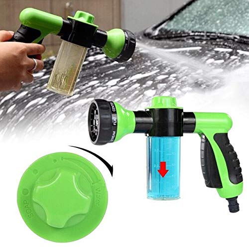 8-Pattern Garden Hose Nozzle Hand Sprayer with Extra Mixer Bottle for Car Wash Watering Lawn and Garden, Ideal for Pets - 1 Pack