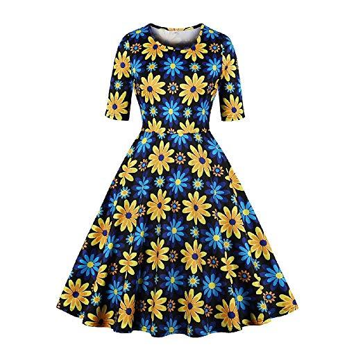 U/A Vestido grande para mujer con estampado floral de comercio exterior