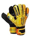 Rinat Egotiko Elemental Spines-Turf Goalkeeper Gloves (Finger Protection) Free Customization & Free Pin! (Gold/Orange, 6)