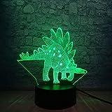 GEZHF Lámpara LED 3D dinosaurio Jurásico Parque Stegosauria 7 cambio de color lava iluminación...