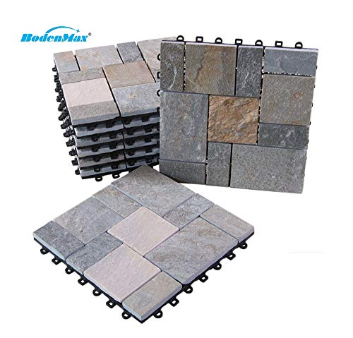 BodenMax® LLSLAROMA-GOLDQ-YP kwarts-Roma patroon kliktegels set 30 x 30 cm terrastegels kliktegels binnengebruik buiten kwarts beige (2 stuks, 0,18sm2, patroontegels)