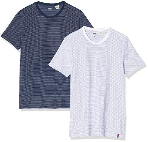 Levi's Slim 2pk Crewneck 1 Camiseta, Multicolor (2 Pack White + Blue Y/D/Blue + White Y/D Staple Stripe 0005), Small para Hombre