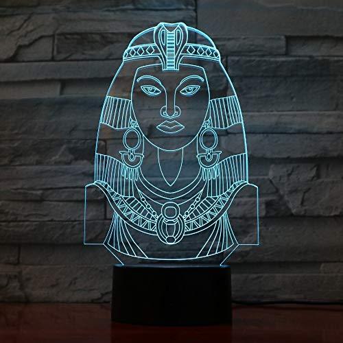 wangZJ Lámpara de ilusión 3d / Luz de noche 3d / Lámpara decorativa/Habitación para niños Decoración del hogar / 7 colores/Regalo para niños/Lámpara led /Egipto Cleopatra