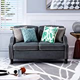 Vongrasig 50'' Small Loveseat Sofa Couch, Modern Fabric Mid Century Love Seats Furniture, 2- Seat Chair Couch for Bedroom, Dorm, Apartment and Small Spaces (Dark Gray)