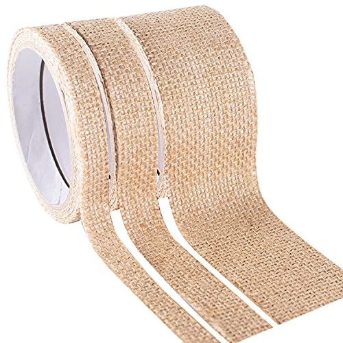 YUBX 3ロール リネン マスキング テープ セット 亜麻 荒布 粘着テープ ワシテープ 装飾 テープ クラフト、子供、スクラップブック、弾丸ジャーナル、DIY、ギフト包装用