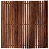 "Bare Decor Fuji String Spa Shower Mat in Solid Teak Wood Oiled Finish, 30"" x 30"", Brown"