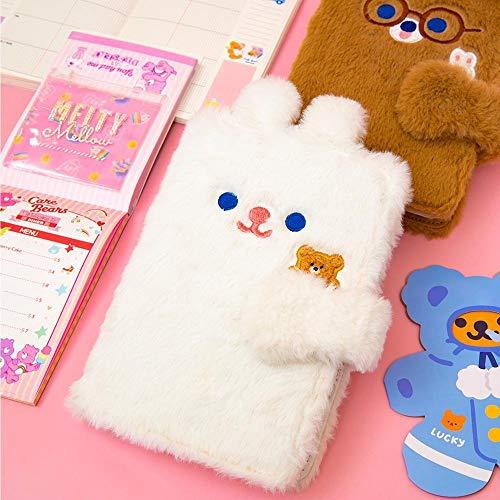 weichuang Cuaderno de palabras para niñas, cuaderno de notas con diseño de oso y conejo, cuaderno de viaje para estudiantes, cuaderno de viaje, cuaderno de regalo para niños, color blanco