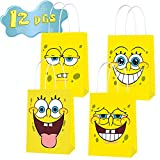SpongeBob Inspired SquarePants Party Supplies, Favor Goodie Gift Bags for SpongeBob Theme Party, Double Sided Printed Ideal for Kids Birthday Party Decorations Favors (12 PCS)