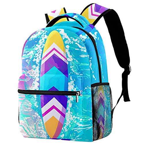 Mochila de color acuarela Surfboard School Bag Mochila de viaje casual para mujeres, adolescentes y niñas