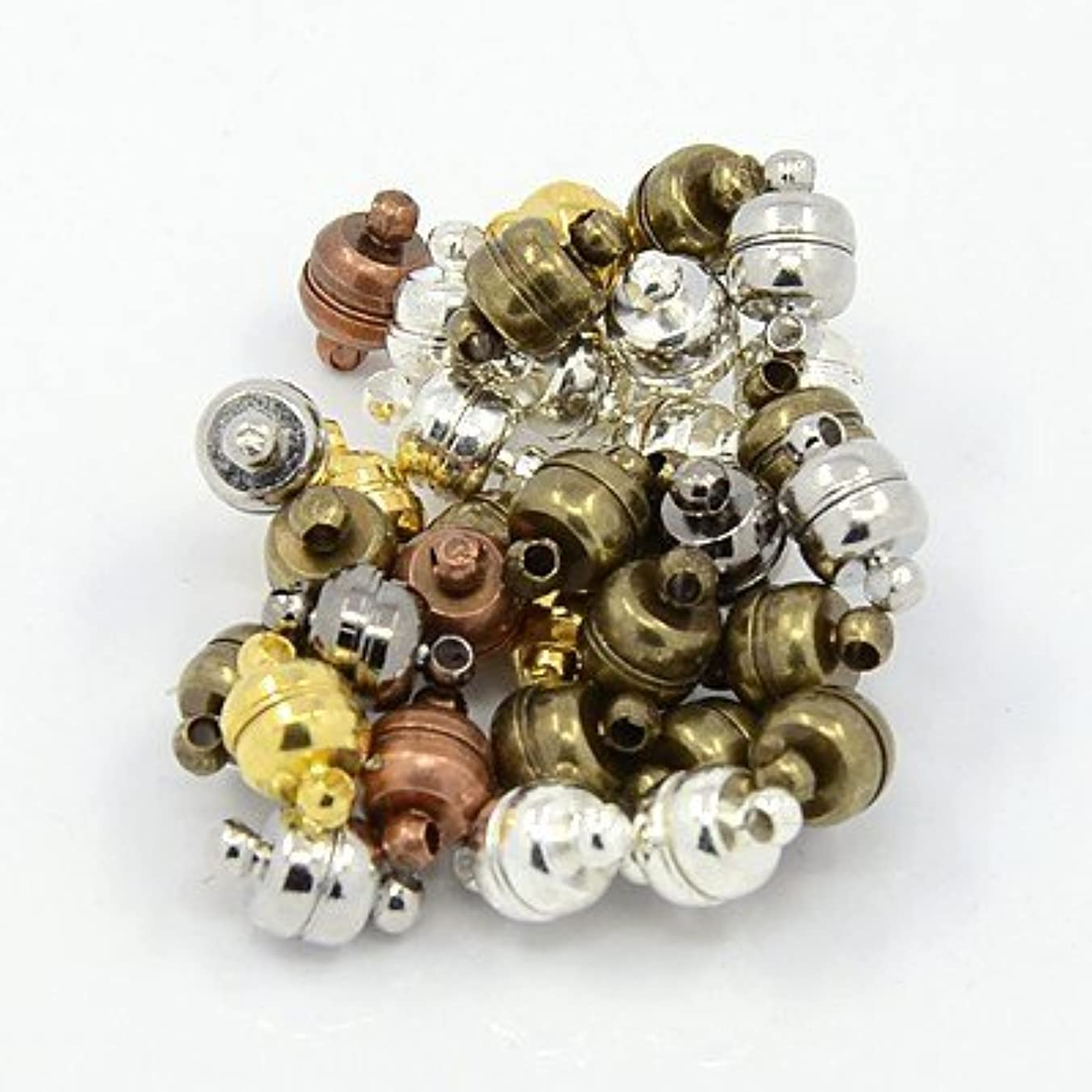 PEPPERLONELY 20 Sets Assorted Color Brass Magnetic Clasps 11x7mm