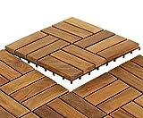 Bare Decor 12 Slat EZ Teak Flooring, 1 Sample Tile, Brown